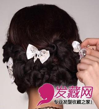 唯美的韩式新娘盘发发型 步骤图解(7)