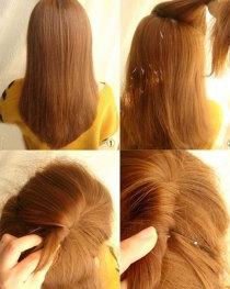 扎头发的方法图解-盘头发的方法图解