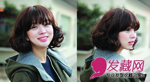 韩版中分短发烫发发型,女生中分短发烫发,女生中分短发烫发