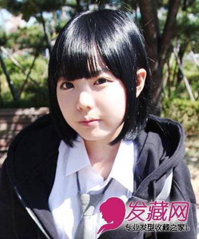齐刘海的波波头发型 时尚好看的学生短发