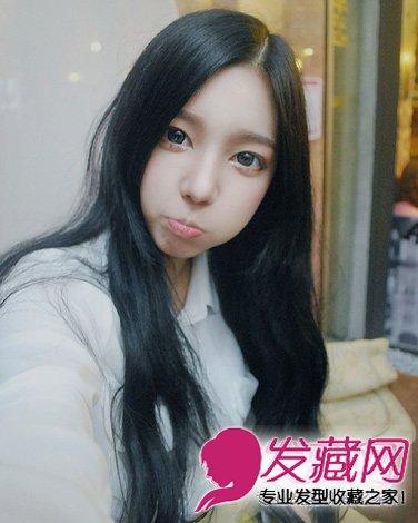 【图】齐刘海的中长发 嘟嘴的表情煞是可爱(5)_圆脸