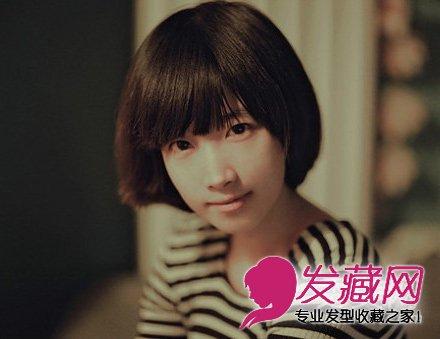 齐刘海的波波头短发,发尾非常的有层次感.图片