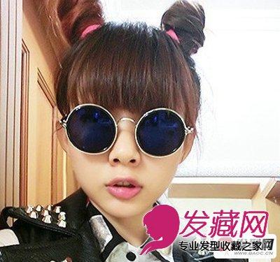 春夏季女生可爱丸子头盘发发型图片(6)