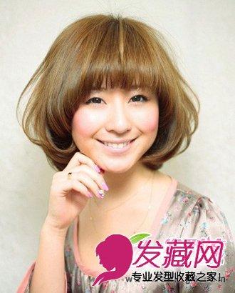 波波头短发发型图片-三七分的斜刘海发型尽显清新的女人气质 6