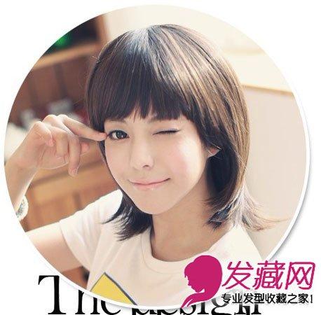 齐刘海的中短发发型,看看这款中短发的造型,是不是有点像水母的