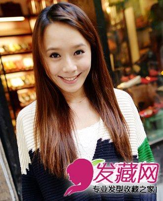 发型打造出刘海编发的效果,很有时尚甜美的味道,搭配上中长 直发发型