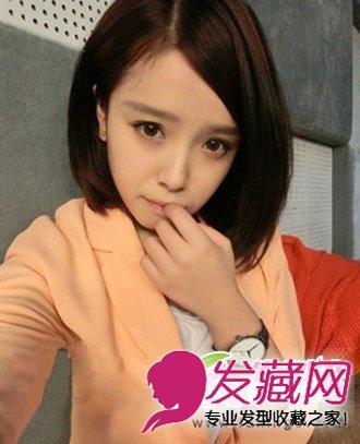 齐刘海发型遮盖眉毛短发发型 打造清新文艺范(4)