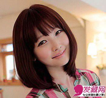 图 大脸女生适合的发型齐肩的短发更是增添了不少女人味 女生发型与脸型 图片