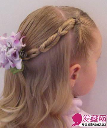 编发图解步骤9:那么这款小女孩编发发型就完成了哦,这是侧面的效果