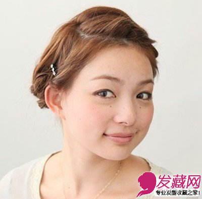 刘海编发后露出清晰的五官,原本不长的短发变得更为精短,更显清爽,春图片