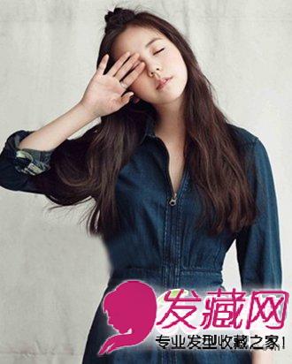 刘海发型往后夹起,自然纯净,呈现出一 →中长发中最简单的内扣发型