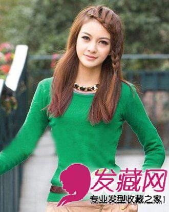 中长的直发 发型设计 ,简单清纯,刘海编发的点缀新鲜时尚,奶茶色 染发图片