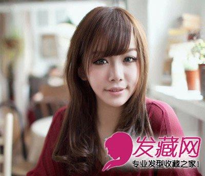 大脸发型的长发斜刘海适合女生烫内扣中瘦脸加上发型(5)什么烫发齐刘海梨花图片图片