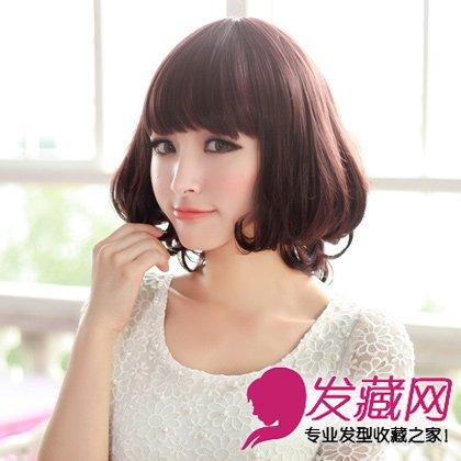 中长发的齐刘海的梨花头发型 大胖脸立变小脸(2)图片