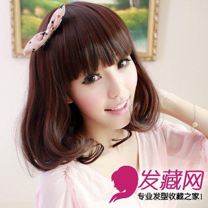 中长发的齐刘海的梨花头发型 大胖脸立变小脸(8)图片