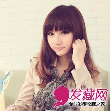 圆脸适合什么发型 清新中长发烫发发型(8)