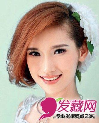 将所有的头发简单婉约的盘起,大侧分的斜 刘海发型 ,凸显出了新娘精致图片