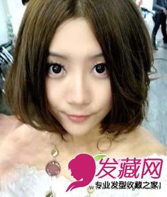 圆脸显瘦发型 斜刘海的中短发发型(5)
