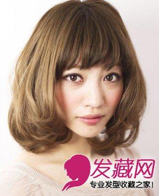 自然的梳外卷梨花头发型 不同脸型适合的瘦 →韩式短发外卷发型 短