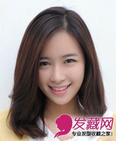 韩式中长发发型 侧分的大片厚重刘海修(2)图片