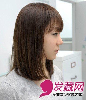 发型网 女生发型 中长发型 > 韩式中长发发型 侧分的大片厚重刘海修(8图片
