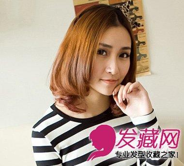 齐刘海梨花中长头发型 齐刘海长发梨花头发型 中发齐刘海梨花烫发型图片