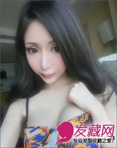 发型/女模王瑞儿以性感火辣的身材而受到关注,长发发型,大眼睛,...