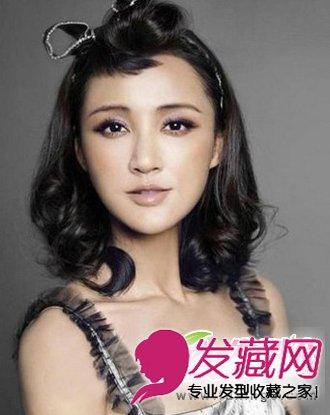> 张歆艺中长发发型 尽显潮流御姐范(6)  导读:复古刘海烫发发型图片