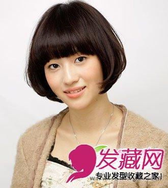 发型网 发型设计 短发发型 > 斜分的刘海与弧度式的烫发 减龄又修颜(4图片