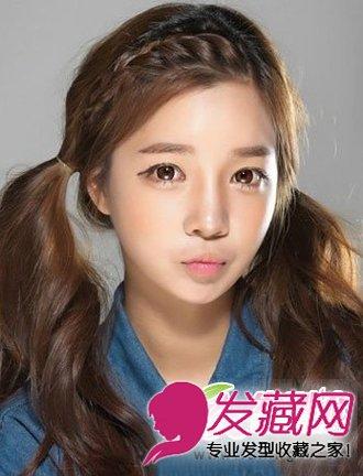 刘海编发的效果,给发型注入了甜美可爱的元素 →偏分的中发蓬松烫发型