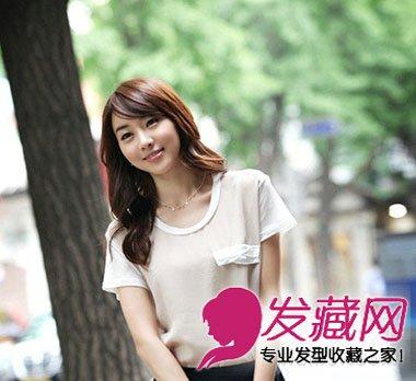 韩系清纯气质妹纸,斜刘海卷发,有木有点少女时代徐贤的感觉呢