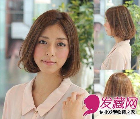短发搭配空气刘海清新甜美 流行波波头图片      中分波波头