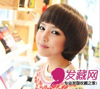 非常甜美清新的一款侧分的波波头短发 圆脸适合的短发发型(7)图片
