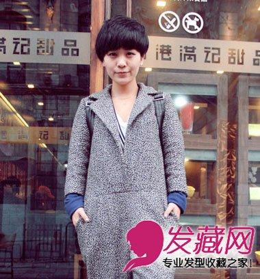 简约款中性风短发发型 斜刘海蓬松的短发发型(4)图片