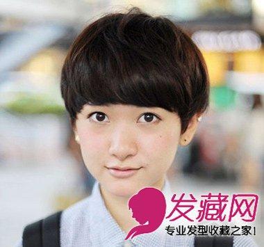 齐刘海短发发型,齐耳修剪,既有假小子的帅气又有作为女孩子的可爱清新
