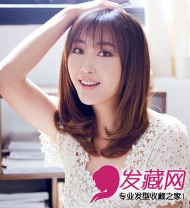 怎么齐刘海的中长发梨花头发型 3-齐刘海长发梨花头发型 齐刘海梨花