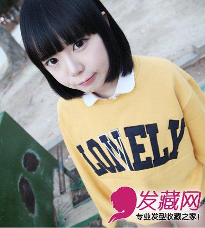 齐刘海的西瓜头短发发型 圆脸必备的削脸发型