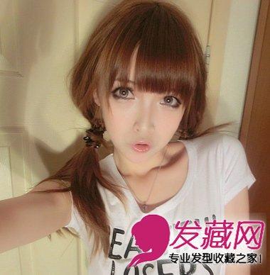 齐刘海发型最减龄显嫩 洋娃娃范的可爱长卷发发型(8)