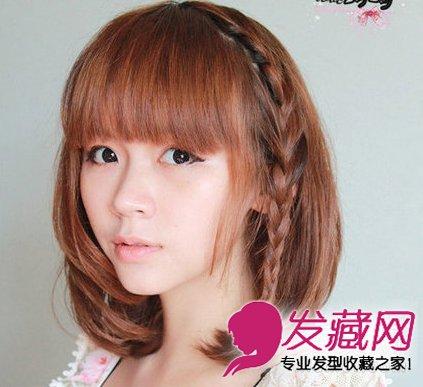 夏季短发怎么扎 甜美公主辫编发图解(5)