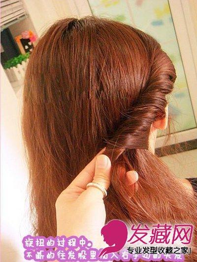 中长发女生款韩式简单发型扎法 →秋冬简单可爱的韩式盘发步骤 →20图片