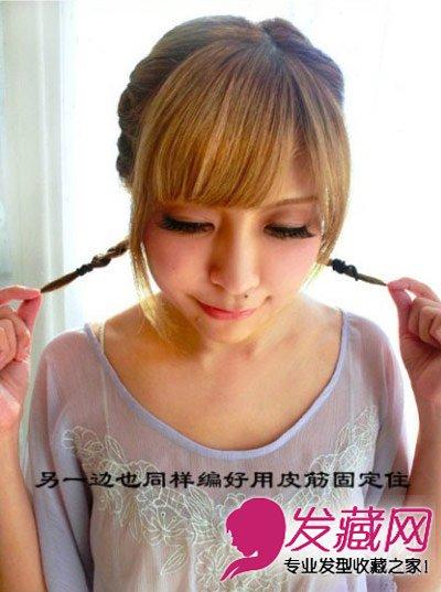 夏季短发怎么扎好看 韩式甜美短发扎发图解(6)图片