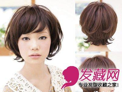 斜刘海自然简单,下摆扭转缠绕的半卷曲头发倍显休闲,走可爱风的圆脸图片