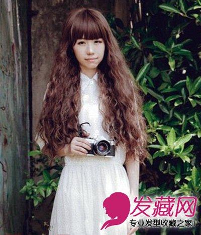 长脸适合什么发型 女神范棕色长卷发(6)