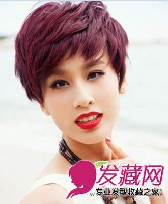 导读:惹眼染色超短发 黄圣依的这一款蓬松侧分的大片斜刘海女生短发