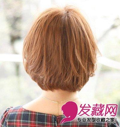 剪齐的发尾设计令造型的后脑勺部分得到了厚重感,从而修饰头型.