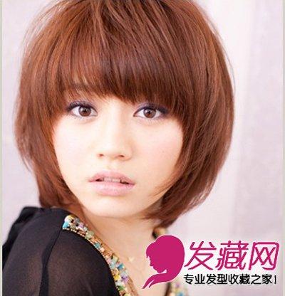 妩媚感十足的短发造型,齐刘海的bob头造型,能够很好的遮挡部分脸