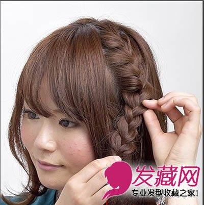 > 短发怎么扎好看 2款清新甜美的短发编发教程(7)  导读:步骤4,将辫子图片