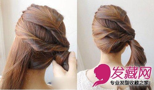 韩式发型扎法 侧边马尾辫扎法图解(6)