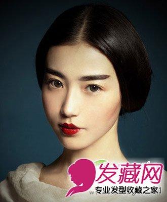 由张辛苑来示范演绎的时尚发型是一款复古的盘发图片