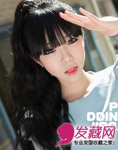 自然大方齐刘海发型 韩式双马尾发型显脸小-显脸小马尾刘海发型 显脸